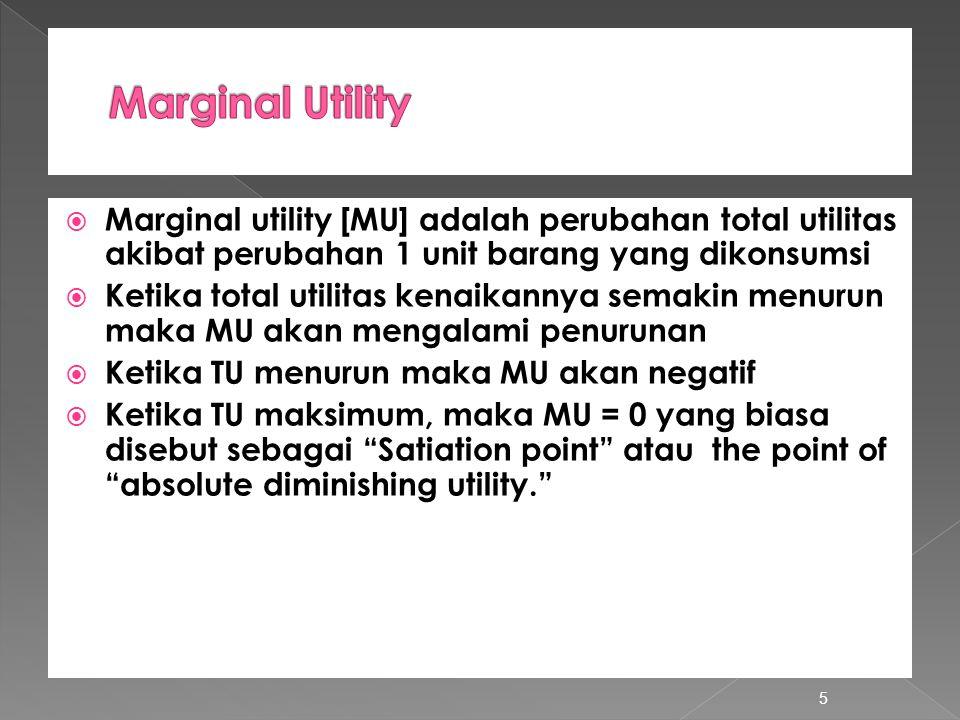 Marginal Utility Marginal utility [MU] adalah perubahan total utilitas akibat perubahan 1 unit barang yang dikonsumsi.